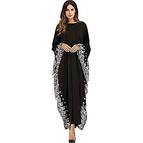 XIANGHUI Damen Muslimische Kleider - Islamische Maxikleid Arabisch Kleid Langarm Dubai Abaya Kaftan Kleidung