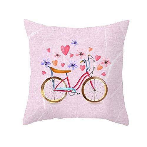 Funda de Cojín Decorativos Funda de Almohada Amor en bicicleta Cuadrado Terciopelo Suave Cojines Decor con Cremallera Invisible para Sofá Cama Decor Hogar Funda de Cojín M378 Pillowcase+core,40x40cm