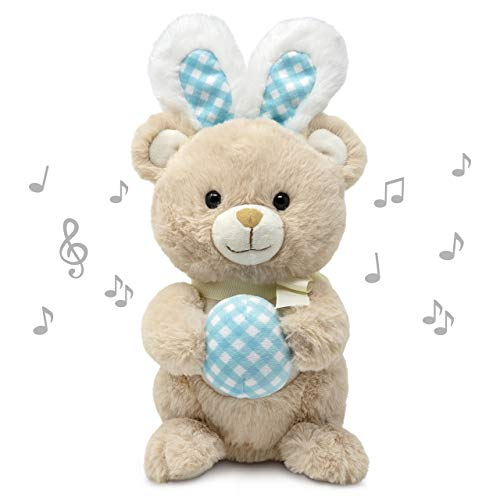 Cuddle Barn | Boppin' Benny 11' Bear Animated Stuffed Animal Plush Toy | Bear Disguised as Bunny Rabbit Holding Easter Egg | Dances to Peter Cottontail