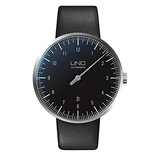 Botta-Design uno + Carbon orologio orologio da polso–einzeiger automatico, in acciaio inox, quadrante nero, cinturino in pelle