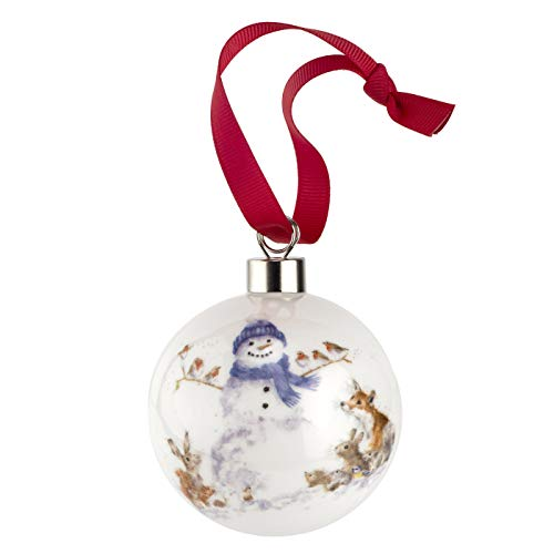 Portmeirion Home & Gifts Gathered All Around (Snowman) -Christmas Bauble, Multi-Colour Colour, 9