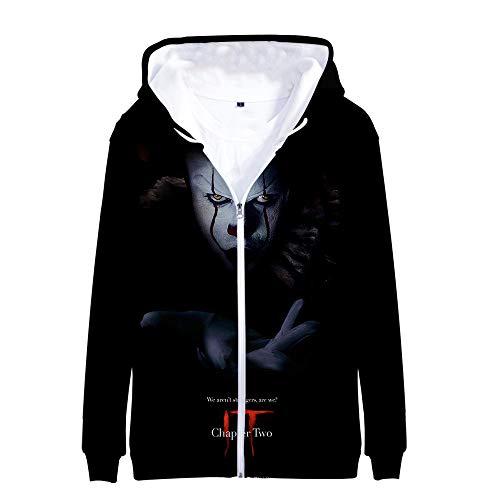 Bopkkgjer It Chapter Two Sweatshirts Digitaldruck 3D Kapuze Mode Herren-Reißverschluss-Pullover Jacke Bequeme Personalisieren Mantel It Chapter 2 Kapuzenpullover (Color : A12, Size : L)