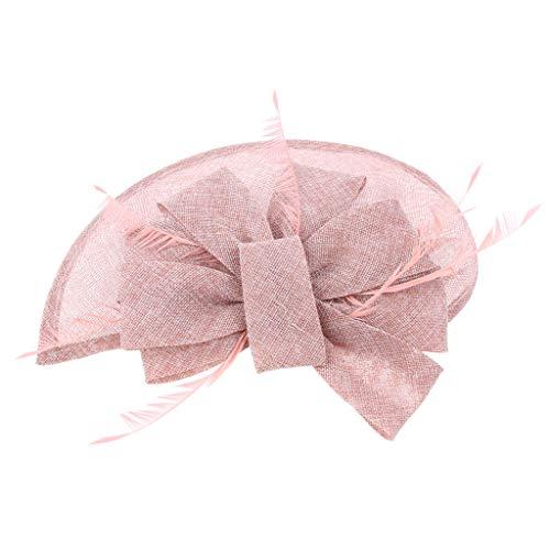 Sharplace Fascinator Fleur Plume Pince à cheveux Cocktail Chapeau Bibi cocktail Royal Ascot - Noir/Blanc/Rouge/Marine/Rose/Violet - Rose