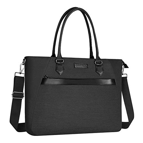 MOSISO Laptop Tote Bag (17-17.3 inch) with Front Trapezoid Pocket, Space Gray