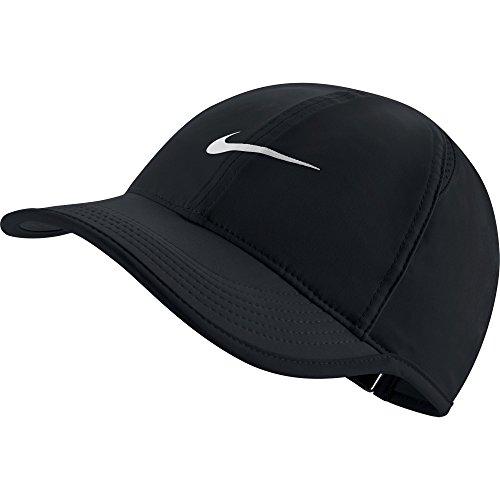 NIKE Women's AeroBill Featherlight Tennis Cap, Black/Black/White, One Size