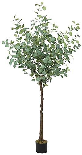 VIAGDO Artificial Eucalyptus Tree 6ft Tall 506 Silver Dollar Leaves Plants Fake Eucalyptus Stems Silk Plants for Living Room Decoration Modern Artificial Tree Home Party Wedding Decor Indoor
