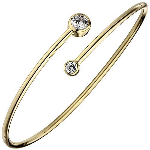 JOBO Damen-Armreif aus 925 Silber vergoldet mit 2 Zirkonia offen