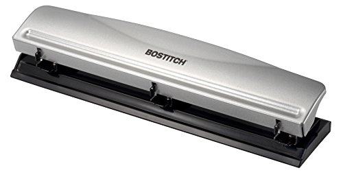 Bostitch Office HP12 3 Hole Punch 12 Sheet Capacity MetalSilver