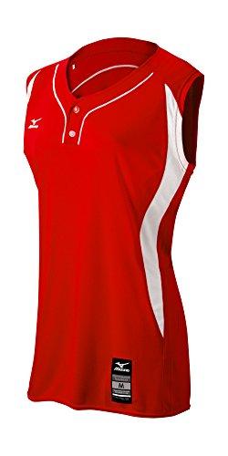 Mizuno Girl's Elite 2-Button Game jersey - Sleeveless, Red-White, MEDIUM (M)