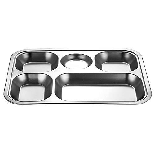 MaoLi Vajilla de acero inoxidable dividida para cena, contenedor de almuerzo o cena, plato escolar (color: plata, tamaño: 5 rejillas)