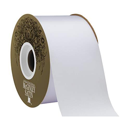 "Berwick Offray 2.5"" Polyester Lustre Satin Ribbon, White, 50 Yards"