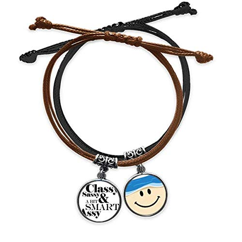 Bestchong Classy Sassy & A Bit Smart Assy Quote Bracelet Rope Hand Chain Leather Smiling Face Wristband