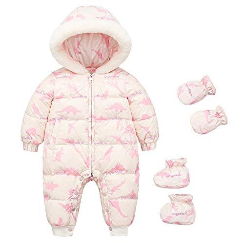 LPATTERN Baby & Kleinkind Winteranzug Schneeanzug Daunenanzug Stepp-Einteiler Outfit Bekleidungsset(Overall+Füßlinge+Handschuhe) mit Kapuze - Süß Tierdruck, Rosa & Beige, 74-80(Label: 80)