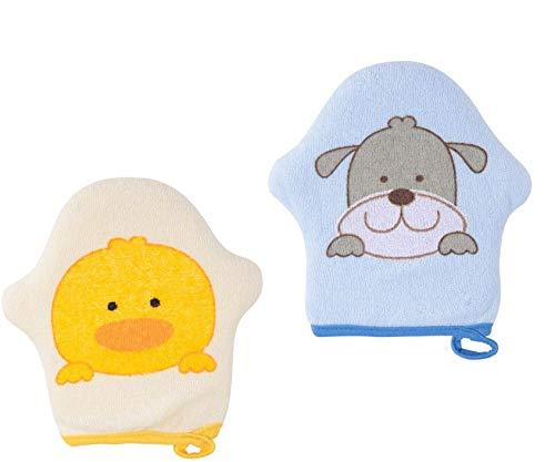 Waschhandschuh Waschlappen mit Tiermotiv 100% Baumwolle Extra Weiches und Extrem Saugfähiges Schonende und Gründliche Reinigung, Tolle Geschenke für Neugeborene und Kleinkinder