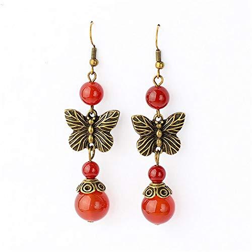 LPOQW Pendientes para mujer, diseño de mariposa, color rojo, estilo vintage, bronce, elegante, para mujer