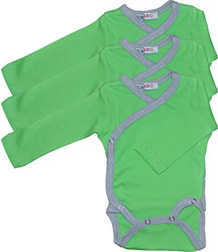 Princess Taufkleid Langarm Wickelbodys 3er Pack grün/grau Grösse 56 Body Unisex 100% Baumwolle mit Druckknöpfen