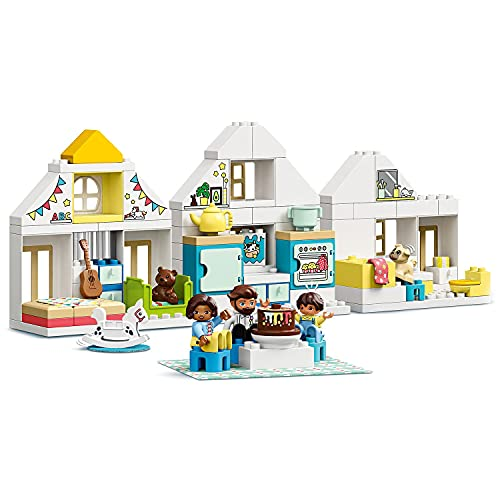 DUPLO Town LEGO 10929 Modular Playhouse 3in1 Set, Dolls House for 2+ Year Old Girls and Boys with Figures and Animals for Toddlers