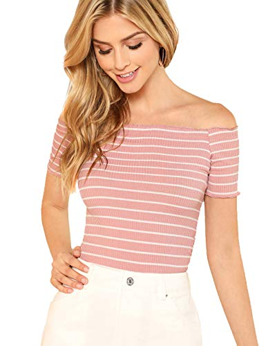 Floerns Women's Off The Shoulder Crop Top Striped T Shirt