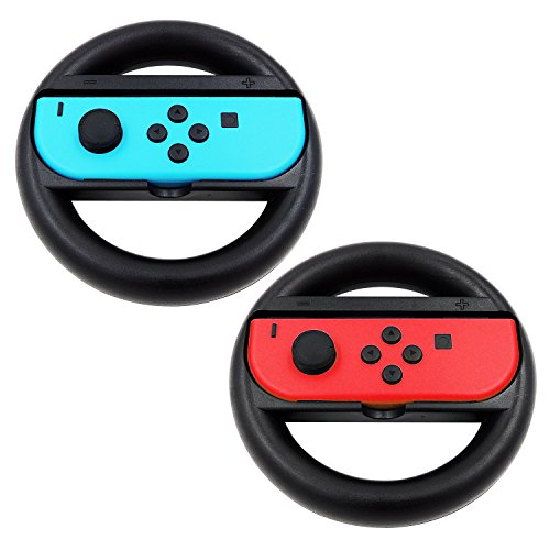 KEESIN Joy-Con stuurwiel compatibel met Nintendo Switch Controller 2 Pack remote dock wheel accessoires zwart
