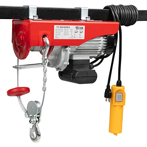 TUFFIOM 120V 1320 LBS Lift Electric Hoist Crane, Electric Winches Wire Remote Control, Carbon Steel Overhead Ceiling Mount Garage Pulley, Single/Double Slings