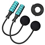 TEPECH Ropeless Jump Rope + 9.2ft Rope, Indoor Cordless Jump Rope Weighted for Fitness