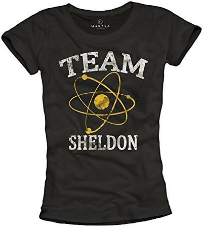 MAKAYA Team Sheldon Camiseta Negra para Mujer