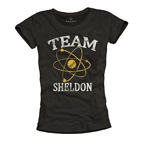 Team Sheldon - Camiseta Negra para Mujer...