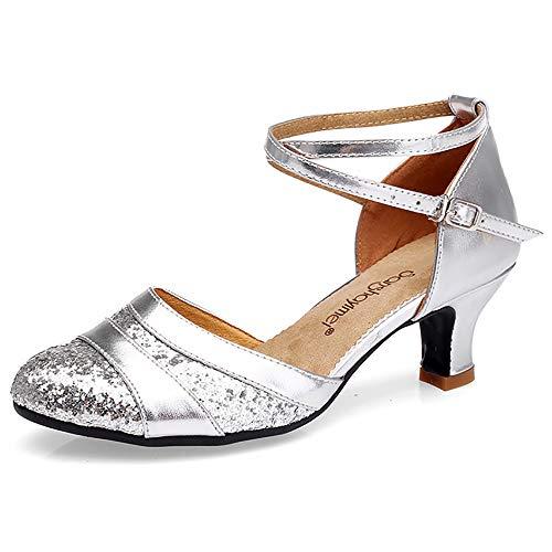 ZLYZS Zapatos Latinos para Mujer, Zapatos De Baile Latino De Satén Sandalias De Mujer con Correa Cruzada Zapatos De Baile con Purpurina Brillante Punta Cerrada,Plata,37EU