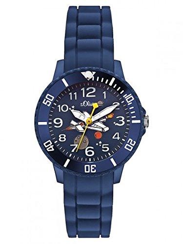 Sterngraf Kinderuhr von s.Oliver MIT Gravur (z.B. Initialen) Kids SO-2590-PQ blau Weltraum Uhr für Jungen & Mädchen