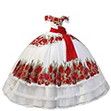 Floral Applique Quinceanera Dresses Mexican Style Off The Shoulder Ball Gown Sweet 15 Dress Prom White 18plus