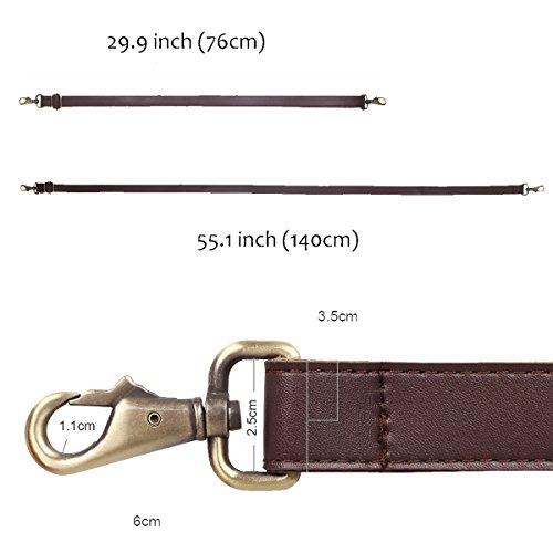 JAKAGO 140cm Universal Replacement PU Leather Shoulder Strap Adjustable Bag Strap with Metal Swivel Hooks for Crossbody Bag Briefcase Messenger Bag DIY Purse Making (Brown)