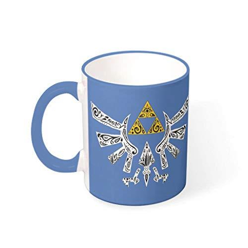 NC83 11 Oz Zelda-Wings water cappuccino beker met handvat keramiek glossy beker - grijs kerst, woonhuis gebruiken staal blauw 330 ml