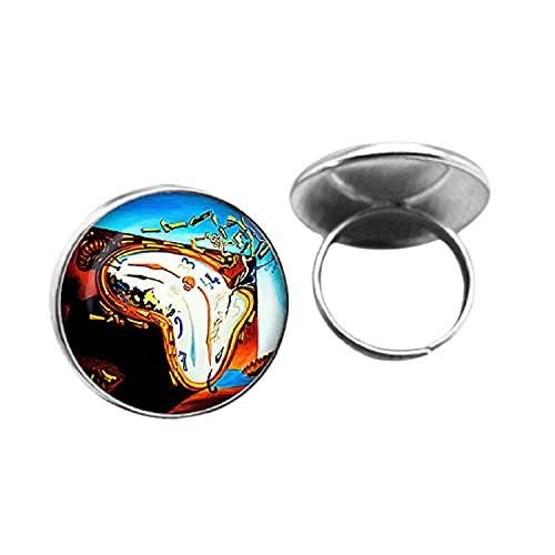 Salvador Dali suave reloj en el momento de la explosión hombres vintage gótico anillos cabujón de cristal hechos a mano joyería