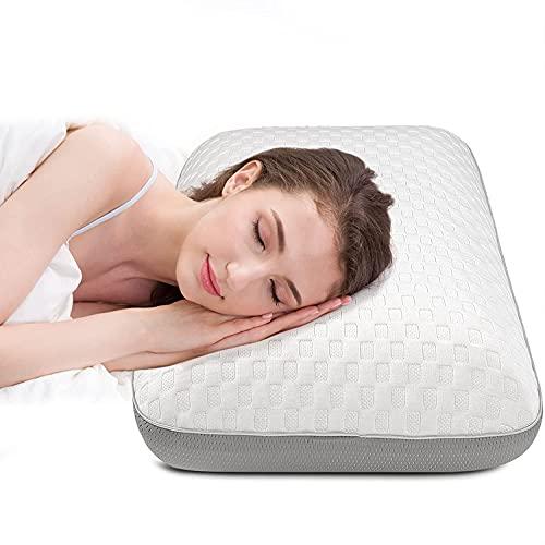 Fityou Almohada 70 x 40 cm, Almohada de espuma con memoria ajustable en altura, Almohada ortopédica de apoyo cervical visco, apoyo contra el dolor de cuello, Almohada para dormir con cremallera Blanco
