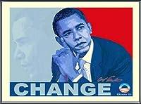 ポスター アームストロング Barack Obama change 額装品 アルミ製ベーシックフレーム(ブラック)