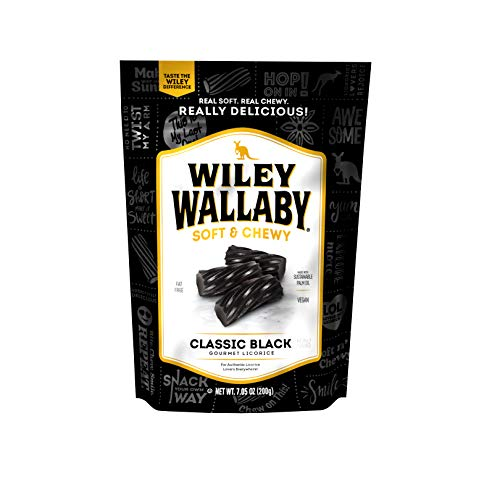 Wiley Wallaby Classic Black Licorice, 7.05 oz Bags, 12 Count