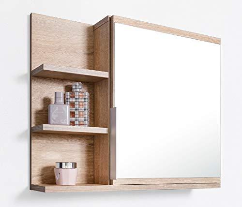 DOMTECH Home Decor Badezimmer Spiegelschrank mit Ablagen, Badezimmerspiegel, Eiche Sonoma Spiegelschrank, L