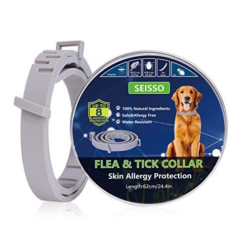 SEISSO Hundehalsbänder gegen Ungeziefer, 62cm Zecken Halsband Anti-Zecken und Flöhe