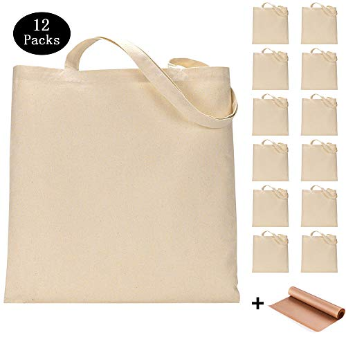 12 Pack Blank Canvas Tote Bags Bulk Shopping Bag for Crafts with 1 Piece of PTFE Teflon Sheet DIY Reusable Grocery Bag, 15 X 16 Inch
