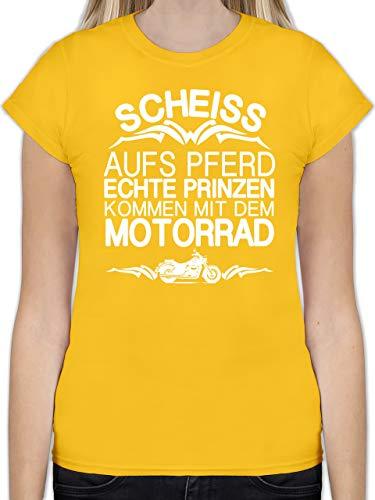 Motorräder - Scheiß aufs Pferd echte Prinzen kommen mit dem Motorrad - M - Gelb - L191 - Tailliertes Tshirt für Damen und Frauen T-Shirt