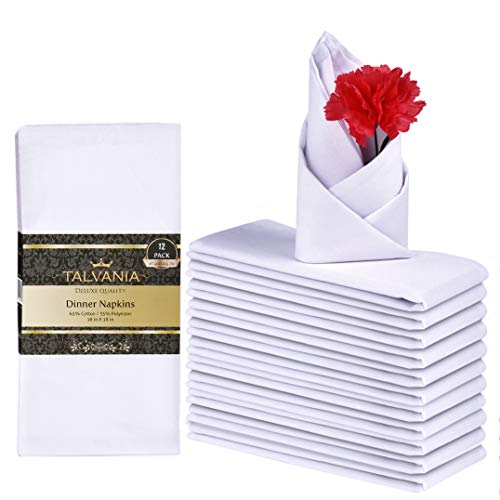 Talvania Cloth Dinner Napkins - 12 Pack Luxuriously Soft & Hotel Quality Cotton