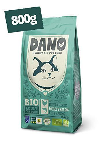 DANO Bio Brocken für Katzen mit MSC-Hering und Huhn - 800 gr - Für Katzen ab einem Alter von 12 Wochen - Getreidefrei - Frei von Künstlichen Zusatzstoffen - Mit Bio Erbsen und Nessel