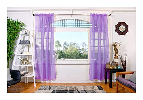 All American Collection Doli Sheer Curtains | Two 54' x 84' Panels (Lavender)