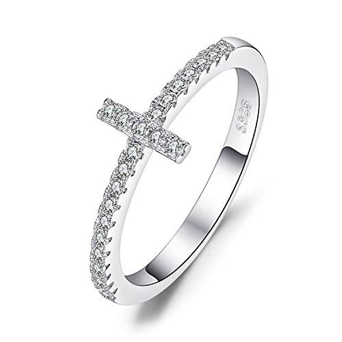 JewelryPalace Anillo Cruz Anillos Mujer Plata Diamante Simulado, Anillos Plata de ley 925 Mujer Chapado en Oro Blanco, Promiso Anillo Mujer Alianzas, Aniversario, Joyería Personalizada
