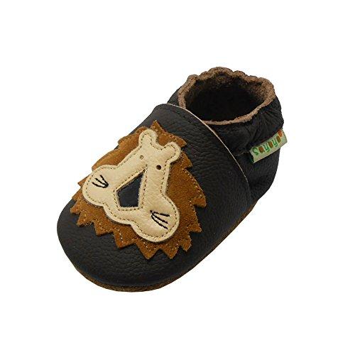 SAYOYO Löwe Krabbelschuhe WeichesLeder rutschfest Babyschuhe(18-24 Monate,Dunkelbraun)