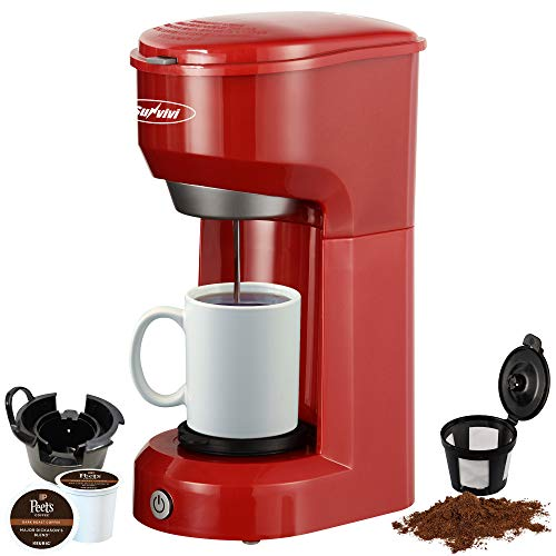 Single Serve Coffee Maker Brewer for Single Cup, K-Cup Coffeemaker With Permanent Filter, 6oz to 14oz Mug, One-touch Control Button with Illumination (Red)