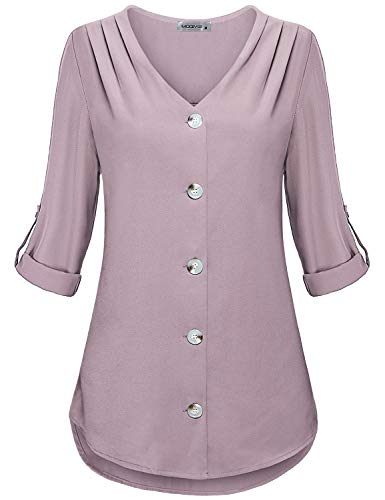 MOQIVGI Womens Dressy Elegant Long Sleeve V Neck Button Down Chiffon Blouse Tops - Pink - X-Large
