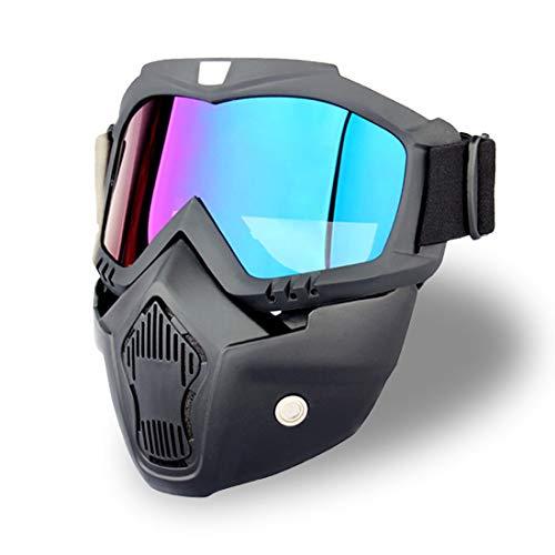 Myuilor Con gafas desmontables para motocicleta, gafas de esquí al aire libre, gafas antideslizantes ajustables, antiniebla, resistente al viento, protección UV (lentes azules coloridas).
