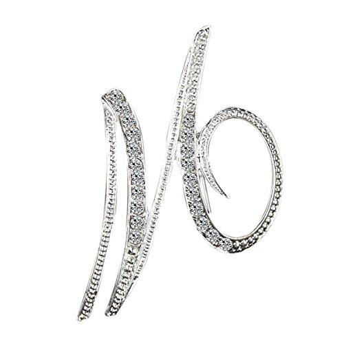 Tooky - Spilla con cristalli da portare all'occhiello, accessorio di abbigliamento indicato per ricevimenti nuziali, colore: argento e M, colore: Took