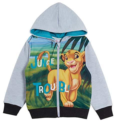 Disney Simba Sweat à Capuche zippé à Capuche pour garçon Motif Le Roi Lion - Gris - 4 Ans